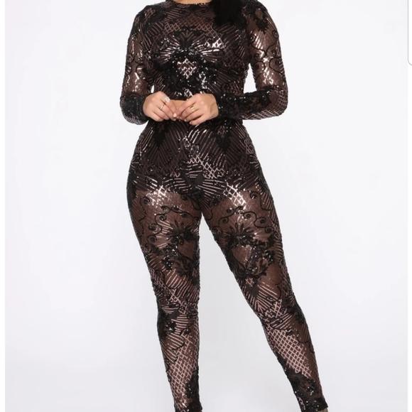 New 2-Piece Black Sequin Crop Top and Black Pants Set Jumpsuit